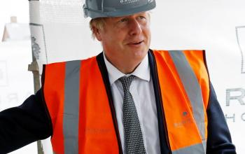 Photo of Boris Johnson with a hard hat