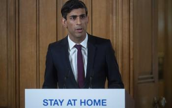 Picture of the Chancellor Rishi Sunak at a podium